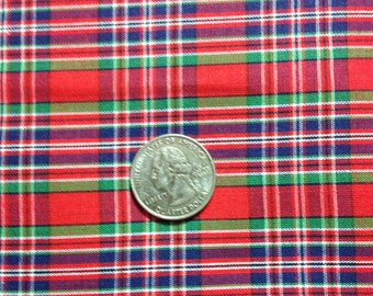 3 Yards Red, Blue, Green Plaid Fabric