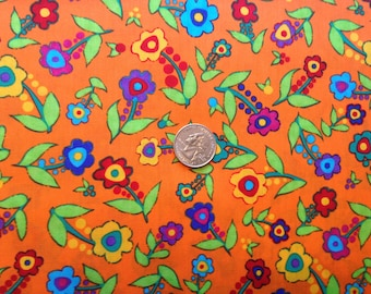 3 Yards 100% Cotton Orange Print Fabric