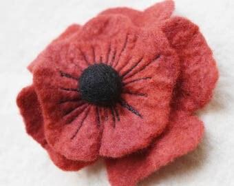 Red Poppy Brooch Wool Felt Red Poppy Flower Pin Felted Red Flower Scarf Bag Accessory Brooch
