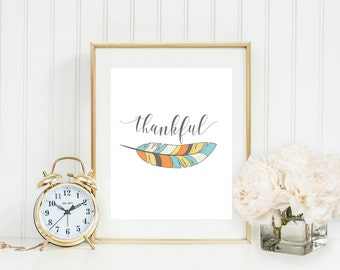 Thankful Feather Wall Art, Fall Feather Colors, Thanksgiving Print, Fall/Autumn Printable, Fall Wall Decor, Gray Frames Holiday Art