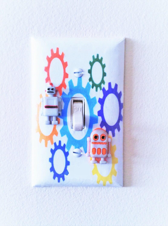 Robot nursery robot room decor robot light switch cover for Robot room decor