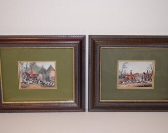Horse and Hound, fox hunt green framed prints (2)