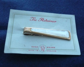 1960's Gold Tone with Faux Mother of Pearl Tie Clip