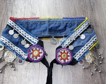 Tribal Belt, Tribal Fusion Belt, Bellydance Belt, Blue Tribal Coin Belt with Tribal Pendants, Vintage, Handmade Cotton Hippie Belt, ATS Belt