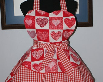 "VALENTINE ""HEART BLOCKS"" 3 Layer Flounce Full Sweetheart Hostess Apron - Handmade!"