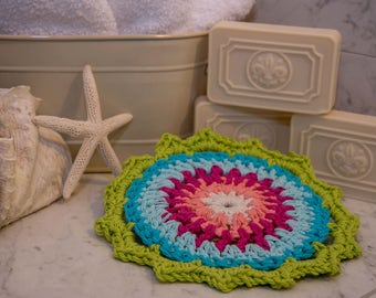 Crochet Washcloth, Miami Nice Collection, bath washcloth, kitchen dishcloth, crochet dishcloth, eco-friendly, potholder, Mother's Day Gift