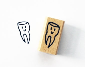 "Stamp ""Teeth"" motif of tooth tooth stamp tooth fairy of tooth rubber stamp"