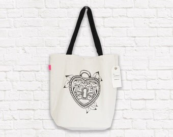 Screen Printed Tote Bag With Heart Locket Tattoo Print