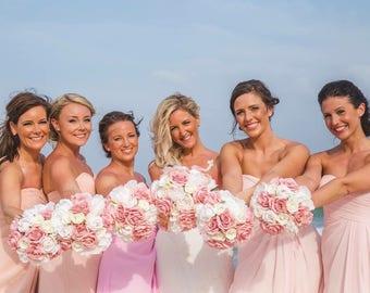 wedding bouquet package/ wedding bouquet set/bridesmaids bouquets/set of bridesmaids bouquets/pink  bouquet/peony bouquet/ flowers