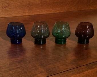 Vintage shot glasses, etched shot glasses, set of 4 shot glasses