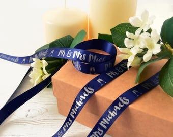 Wedding 15mm Personalised Printed Ribbon - Wedding Gift Wrap - Wedding Ribbon - Anniversary Gift Wrap