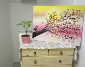 Original modern abstract acrylic painting on canvas bird on a branch