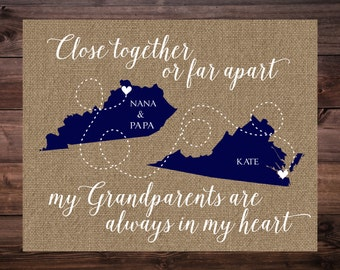 Gift for Grandparents, Christmas Gift for Grandparents, Personalized Grandparent Gift,  Long Distance Map for Grandparents, Grandparents