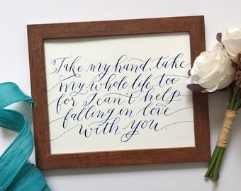 Can't Help Falling in Love with You Lyrics | Hand-Lettered Calligraphy Art | 8x10