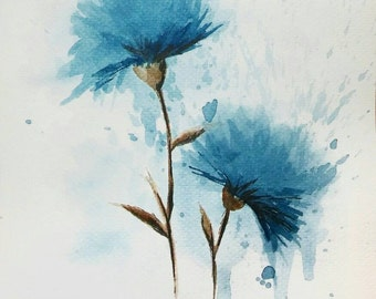 Blue flowers. Original watercolor painting. Free shipping