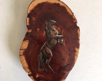 Wild Horse Cedar Wood Painting
