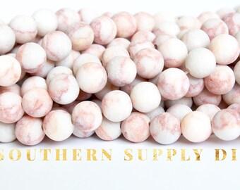 Matte Veined Granite Beads - 6mm 8mm 10mm Matte Beads - natural Beads matte finish Cream Color pink veining -
