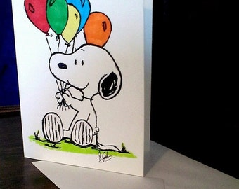 Snoopy Hand Drawn Greeting Card - Father's Day - Birthday - Anniversary -