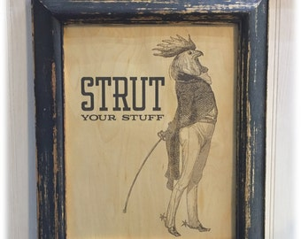 FRAMED Rooster Art Print on Wood Veneer, Strut Your Stuff, Rooster in Riding Clothes, Equestrian Rooster, Anthropomorphic Rooster in Spurs