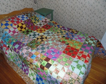 """Handmade King Size Quilt Multi Colour Old Time Shoo Fly size 97"""" by 102"""""""