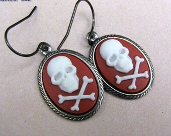 Cameo Earrings, Red and White Skull and Crossbones, Hypoallergenic Jewelry