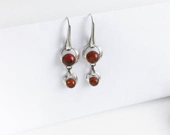 Natural Amber and Sterling Earrings