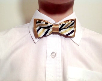 Children bow tie, white, black and gold stripes