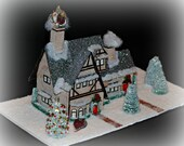 English Tudor Glitter House, Handmade Glittered House, Christmas Village House, Putz Style House, Christmas Village Paper House, Christmas