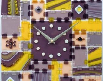 Fused Glass Wall Clock Rectangular Fantasy - Purple on Gold
