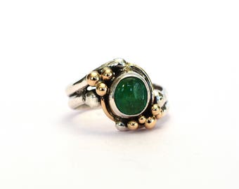 Emerald Cabochon Sterling Silver & 14 Karat Gold Ring