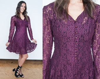 Sale 30% Off VTG | 1990's | Burgundy Lace | Sheer | Grunge | Dress - M