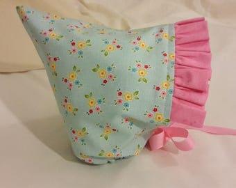 Pixie Bonnet Light Blue with Pink Ruffle