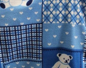 "Blue Bear Block, teddy bear, fleece fabric, 60"" wide, sold by the yrd"