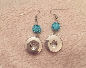 Crystal blue silver snap button dangly earrings