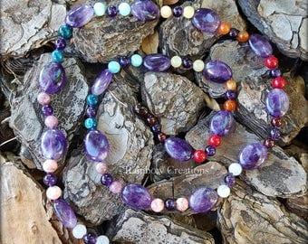 Amethyst Rainbow Chakra Necklace
