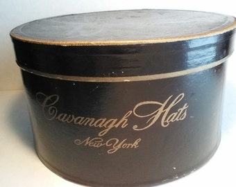 Top hat and box, hat by C.M Whitney of Conneaut Ohio, box from Cavanaugh NY