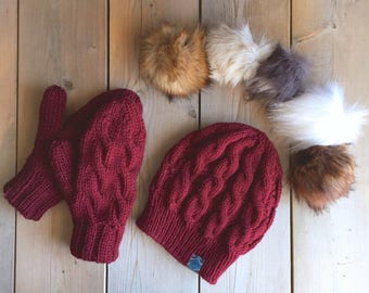 Pick Your Pom - Matching Fur Pom Cabled Toque and Lined Cable Mittens in Burgundy