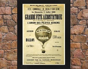 AZ26 Framed Vintage 1885 Grande Fete Aerostatique Hot Air Balloon Circus French Advertisement Poster Re-Print Wall Art Deco A3/A4