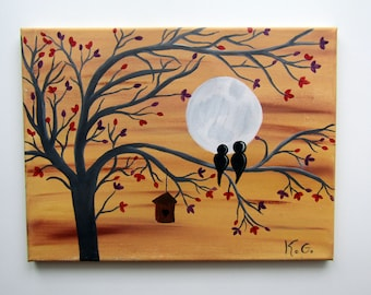 Moonlight and birds on a tree. Acrylic painting.