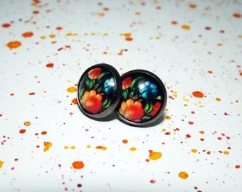 Dark flower stud earrings - Black floral earrings - Folk art earrings - Flower pattern earrings - Dark floral stud earrings - Gift for her