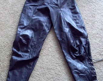 VINTAGE BLACK LEATHER pants...80's.....Toff of London....made in Brazil...sz 12