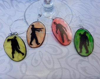 "zombie wine charms, set of 4, made from 100% recycled plastic ""shrinky dink"""
