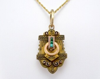 Antique Victorian Turquoise and Gold Locket Necklace