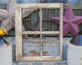 Antique Four Pane Window Frame Reclaimed from Historic Amish Farmhouse Barn in Lancaster County Pennsylvania, Small 4 Pane window NO GLASS