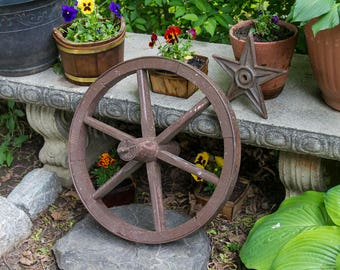 Antique Wagon Wheel Wooden Wheel With Iron Rim Amish Farmhouse Antiques Rustic Home