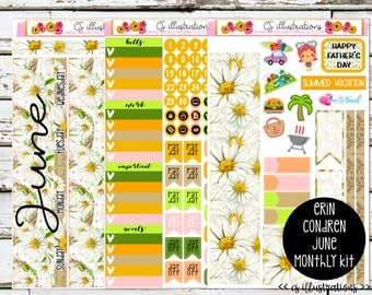 June Monthly Spread Planner Kit; 3 Sheets | Erin Condren Planner | Erin Condren Vertical and Horizontal