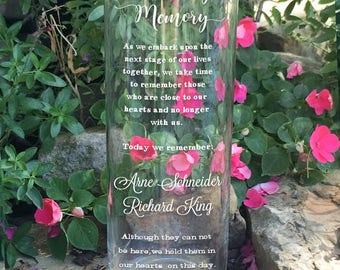In Loving Memory Memorial Vase - In Loving Memory Vase -Floating Wedding Memorial Candle - Memorial Candle - Custom Memorial Cylinder