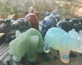 Gemstone Elephant. Animal Totem Carving.