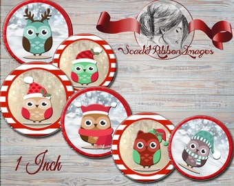 Christmas  Owls 1 inch Bottle Cap images with candy cane border - 600dpi  printable digital collage sheet