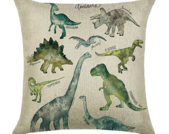 Dinosaur T-Rex Kids Pillow Cushion Cover Linen Cotton Shabby Chic